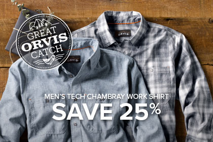 MEN'S TECH CHAMBRAY WORK SHIRT SAVE 25%