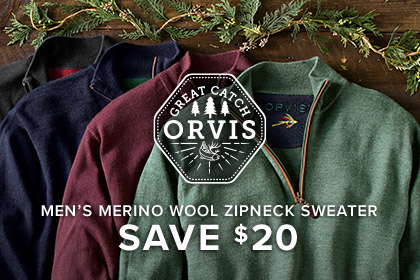 MEN'S MERINO WOOL ZIPNECK SWEATER - SAVE $20 - WARMTH THAT WON'T WEIGH HIM DOWN We use the finest merino wool available to create a soft, warm sweater that won't add unnecessary bulk.
