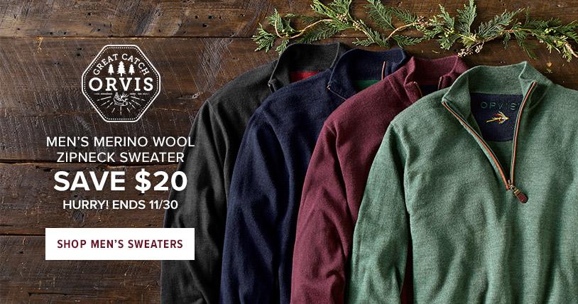 MEN'S MERINO WOOL ZIPNECK SWEATER - SAVE $30 - HURRY! ENDS 11/30