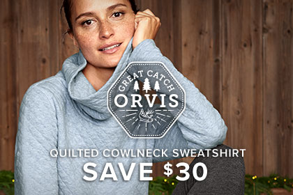 WOMEN'S QUILTED COWLNECK SWEATSHIRT SAVE $30 A cozy cowlneck elevates this above ordinary sweatshirt status, while the generous kangaroo pocket gives her a place to warm her hands.
