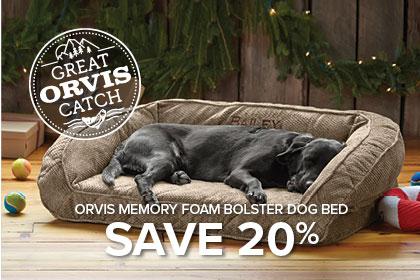 ORVIS MEMORY FOAM BOLSTER DOG BED SAVE 20%