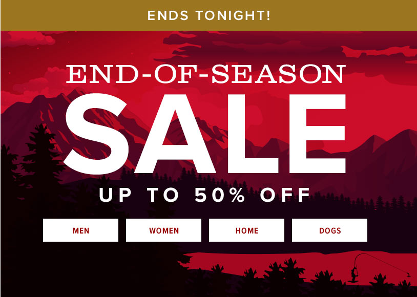 ENDS TONIGHT | END OF SEASON SALE | Save up to 50% | SHOP NOW