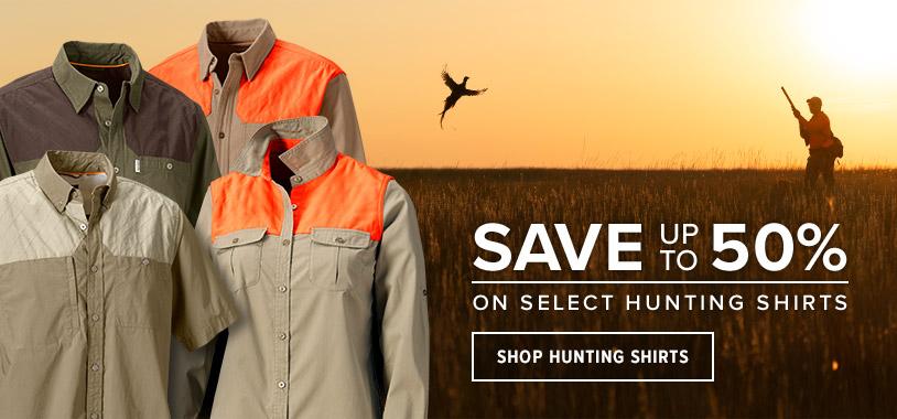 Save up to 50% on select hunting shirts. Shop Hunting Shirts.