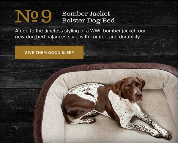 No.9 Bomber Jacket Bolster Dog Bed | A nod to the timeless styling of a WWII bomber jacket, our new dog bed balances style with comfort and durability. | GIVE THEM GOOD SLEEP