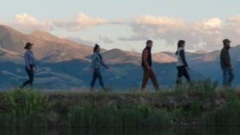 People hiking.