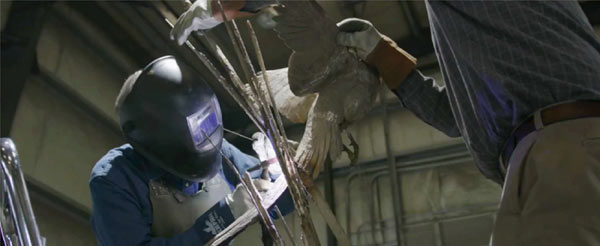 WALT MATIA WELDING A SCULPTURE