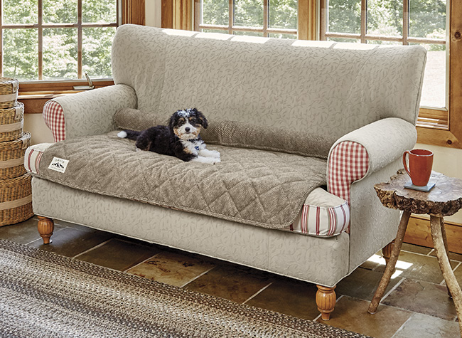 Grip-tight Quilted Furniture Protector With Zip-off Bolster / Only Loveseat Protector, Brown Tweed