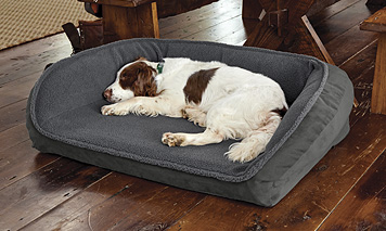 A bolster bed with a fleece-topped memory foam surface promises luxurious rest for your dog.