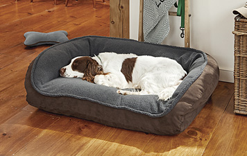 We've added a plush fleece sleep surface to our ComfortFill Bolster Dog Bed for extra comfort.
