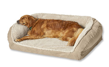 Soft, comfortable fleece covers the AirFoam fill in this pet-approved Orvis Bolster Dog Bed.