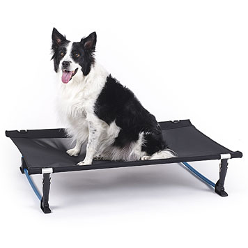 The Helinox Elevated Dog Cot features a lightweight aluminum frame for portable, packable ease.