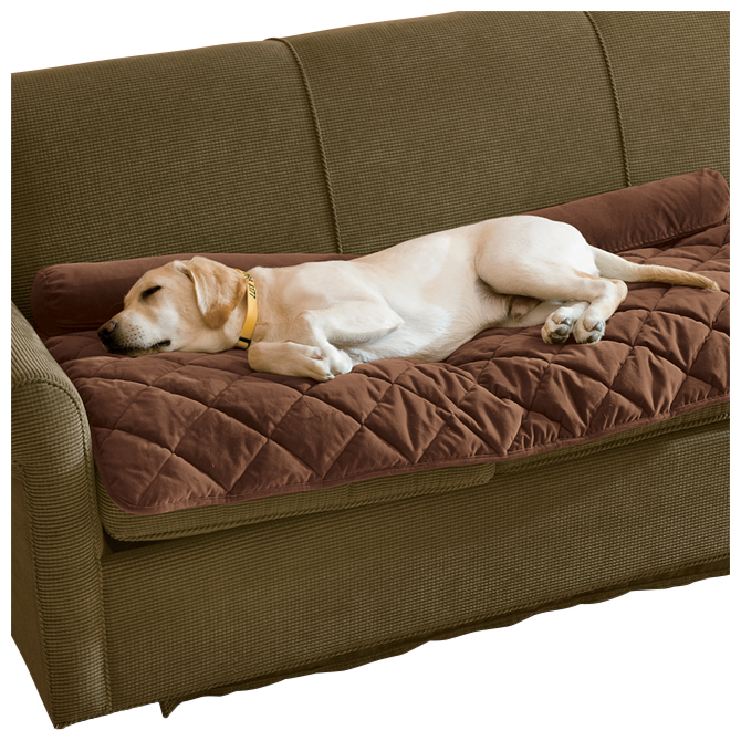 Grip-tight Quilted Furniture Protector With Zip-off Bolster / Only Loveseat Protector