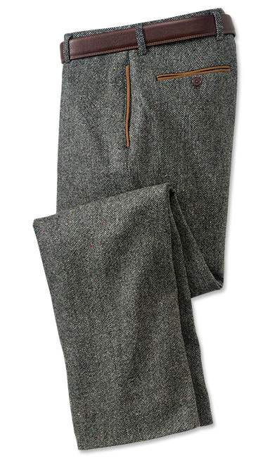60s – 70s Mens Bell Bottom Jeans, Flares, Disco Pants County Donegal Tweed Pants Charcoal 32W X 30L $198.00 AT vintagedancer.com