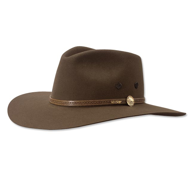 No piece of apparel reflects the American West more than a Stetson hat, and no Stetson captures the Western spirit better than this classic hat of pure wool felt. Trimmed with a genuine leather hatband, which features a replica of a vintage buffalo nickel. Fully lined. Presented in a reusable Stetson box. In bark. Wipe clean with a damp cloth. Made in USA. Sizes: 6 ⅞, 7, 7 ⅛, 7 1/4, 7⅜, 7 1/2, 7⅝.