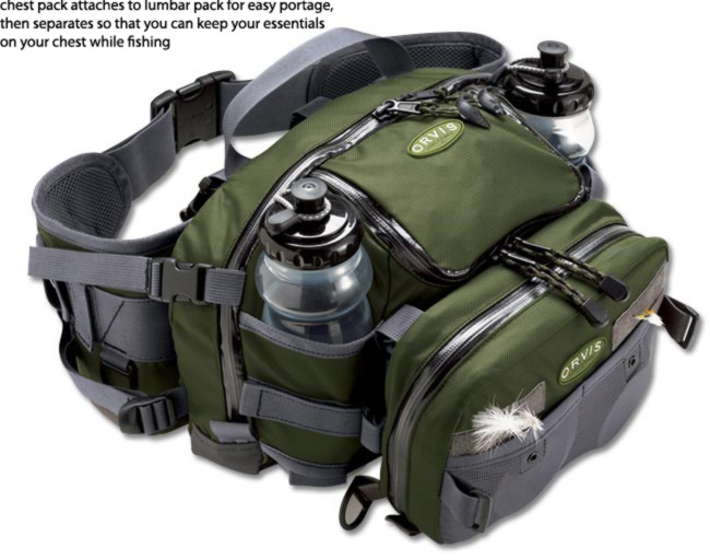 Orvis safe passage waist and chest pack combo for Fishing waist pack