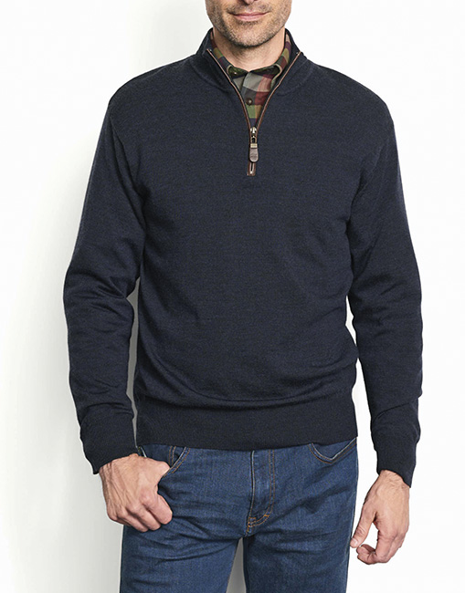 Orvis Men/'s Merino Wool Zipneck Sweater