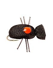 This leggy, bright dot foam beetle is a standard among terrestrial fly patterns.