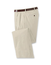 A hidden expandable waist is key to the superior comfort these casual poplin pants offer.