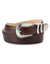 You'll enjoy the bold style of our men's brown bison leather belt. Made in USA.
