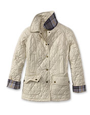 Enjoy the sophisticated look of this snap-front quilted jacket.