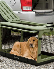 This versatile folding dog crate makes it easier to travel with your pet.