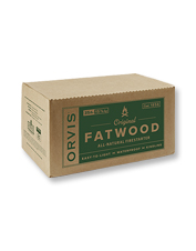 Make quick work of starting a fire with Orvis Fatwood in a convenient carton.