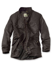 Sylkoil gives the Barbour Prestbury waxed cotton jacket its broken-in, shine-free finish.