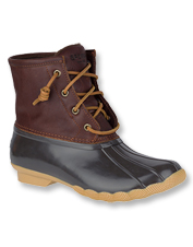 Block mud, muck, and cold wearing waterproof, fleece-lined Saltwater Duck Boots by Sperry.