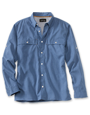 This tailored quick-dry button-front shirt adapts well to beach front or dining room.