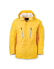 You'll appreciate all the pockets and other smart details in this men's yellow sailing jacket.
