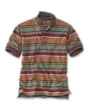 A Serengeti sunset was the inspiration for this striking men's striped piqué polo shirt.
