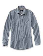 Our lightweight Tech Chambray Work Shirt offers all-day comfort in a quick-drying package.