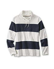 Grab our striped French terry sweatshirt pullover for a cheerful day at the beach.