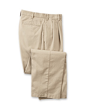 Sport an impeccable appearance when you travel wearing these easy-care khaki pants for men.