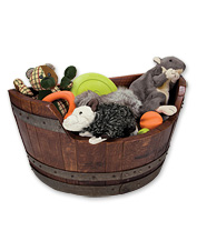 Dog toys will be close at hand with this lovely storage bin dog toy box. Made in USA.