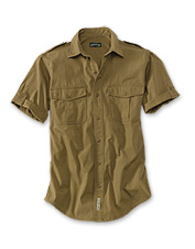 Explore the field in our bush poplin short-sleeve safari shirt.