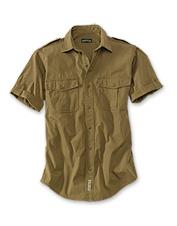 Explore the field in our bush poplin short-sleeve safari shirt.