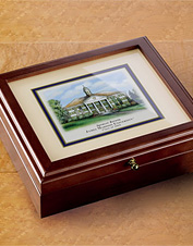 This handsome wood desk box makes a personalized gift a college grad or alum will treasure.