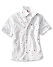 A fetching campfire print and comfortable cotton make this shirt one to reach for all summer.