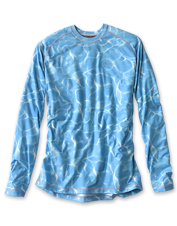 A favorite drirelease crew neck shirt gets an appealing update in this water camo print.