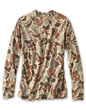 A favorite drirelease crewneck shirt gets an appealing update in this water camo print.