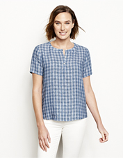 Linen for comfort, plaid for style: This lightweight linen popover shirt is summer-ready.