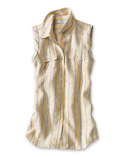 This sleeveless striped linen shirt brings together summer's favorite fabric and pattern.