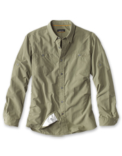 Our microfiber Escape Shirt offers UPF 40+ sun protection and moisture-wicking comfort.