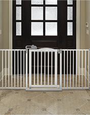 No fumbling with frustrating latches—this Wide Pet Gate swings either way with one touch.