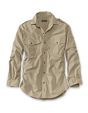 Our authentic men's safari shirt carries all your essential travel gear.