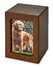 Create a reminder of your dog's constant companionship with an engravable Wooden Box Memorial.