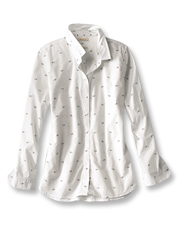 The Shoreward Shirt by Barbour features a whimsical print of tiny fish darting to and fro.