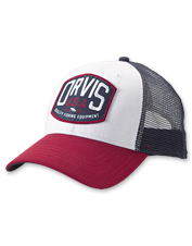 This trucker cap's retro logo patch tells the world where you get your fly-fishing gear.