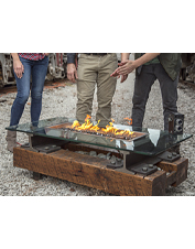 Set the flames to music indoors or out with this novel Bluetooth firepit by Rail Yard Studios.